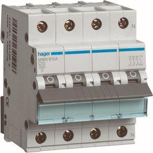 Hager  Automaat 3kA - C - 3P+N - 6A - 4M  - MWN606A