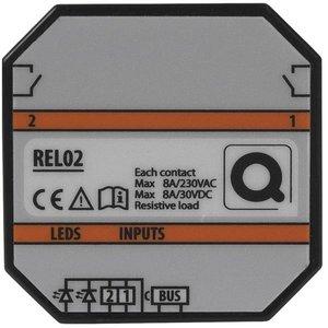 QBUS Decentrale relaismodule (2x8A) voor muur in/opbouwdoos - REL02