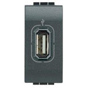 Bticino LL - USB contactdoos, antraciet, 1 module
