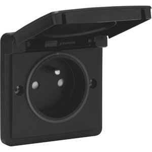 Niko Waterbestendig stopcontact zwart 761-36600