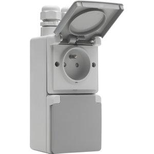 Niko Waterbestendig dubbel stopcontact vertikaal grijs Niko 700-37730