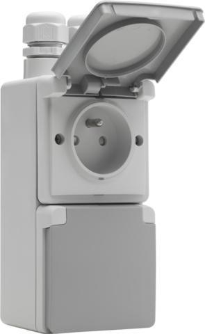 Voorkeur Niko Waterbestendig dubbel stopcontact vertikaal grijs Niko 700 DG38
