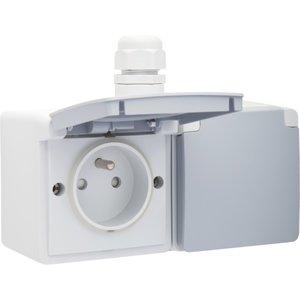 Niko Waterbestendig dubbel stopcontact 1 ingang horizontaal grijs Niko 700-37748