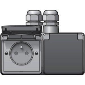 Niko Waterbestendig dubbel stopcontact horizontaal grijs Niko 700-37749