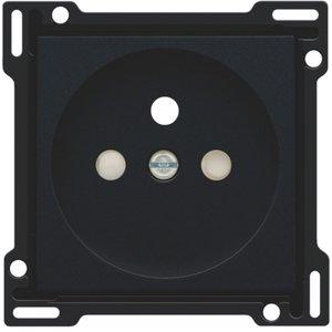 Niko Afwerkingst  Zwart stopcontact inbouwdiepte 28,5mm 161-66601