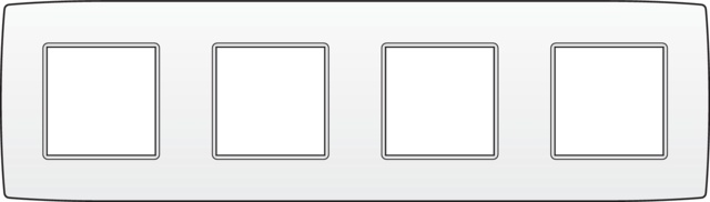 Niko Original White.Viervoudige Horizontale Afdekplaat Kleur Original White Niko 101 76400