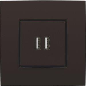 Niko Afwerkingsset voor USB-lader, donker bruin, 124-68001