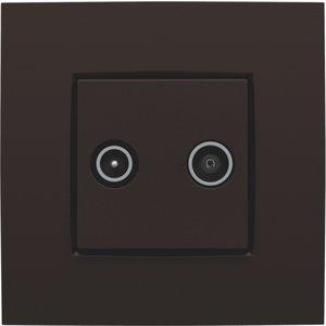 Niko afwerkingsset voor TV-FM kleur dark brown / 124-69702