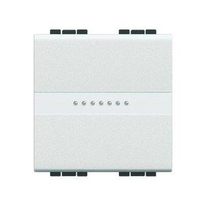 Bticino Enkelpolige schakelaar LivingLight 16A 250V steekklemmen met toets wit, 2 modules