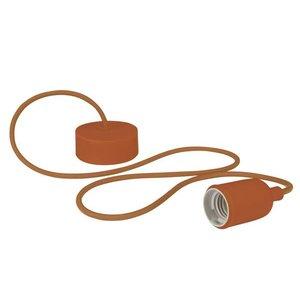 Bruine Lamphouder met textielkabel E27 fitting
