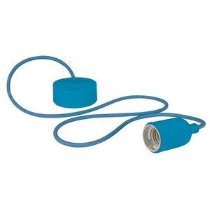 Blauwe Lamphouder met textielkabel E27 fitting