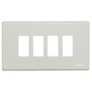 Bticino 504/4/AL Magic aluminium Afdekplaat 4 modules