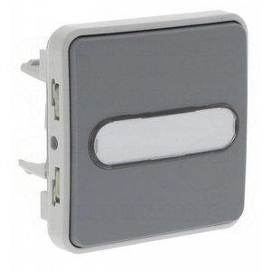 Legrand Plexo Wisseldrukknop verlicht met etikethouder - 10 A 250V