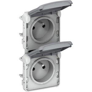 Legrand Plexo Dubbele verticale contacdoos - 16A - 250V met steekklemmen