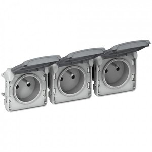 Legrand Plexo 3 Dubbele horizontale contacdoos - 16A - 250V met steekklemmen