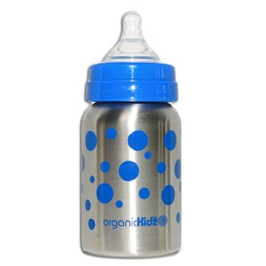 OrganicKidz™ Wide Mouth Blauwe Stippen 270ml