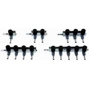 Luchtverdeler 9mm 1 uitgang met kraan