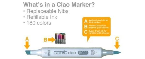 Copic Ciao marker: de voordeligste allround marker op alcoholbasis met penseel en beitelpunt