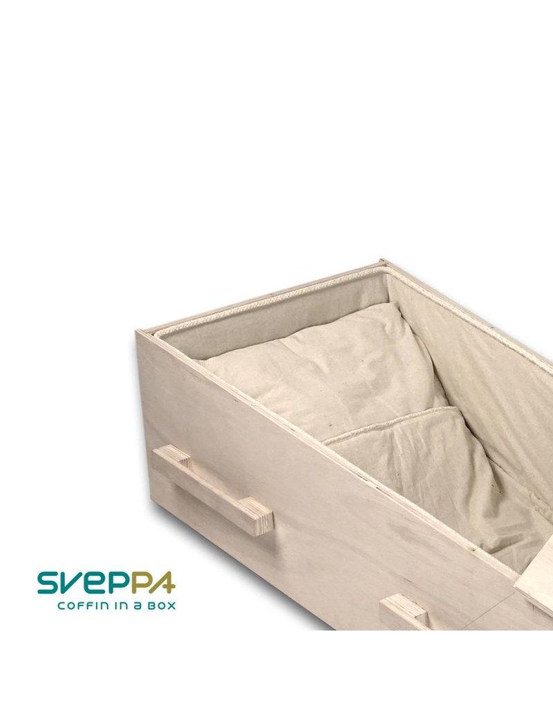 Uitvaartproducten SVEPPA set met bekleding en kussensloop voor zelfgemaakte grafkisten