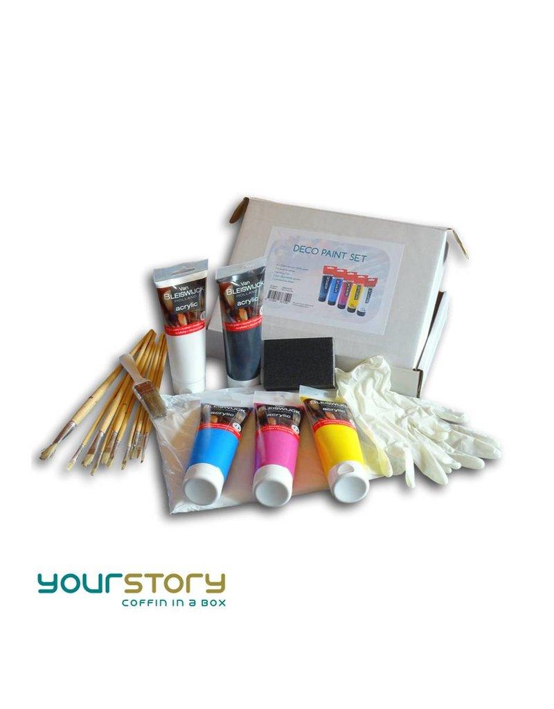 Complete decoratie set met verf en penselen voor het beschilderen van een grafkist