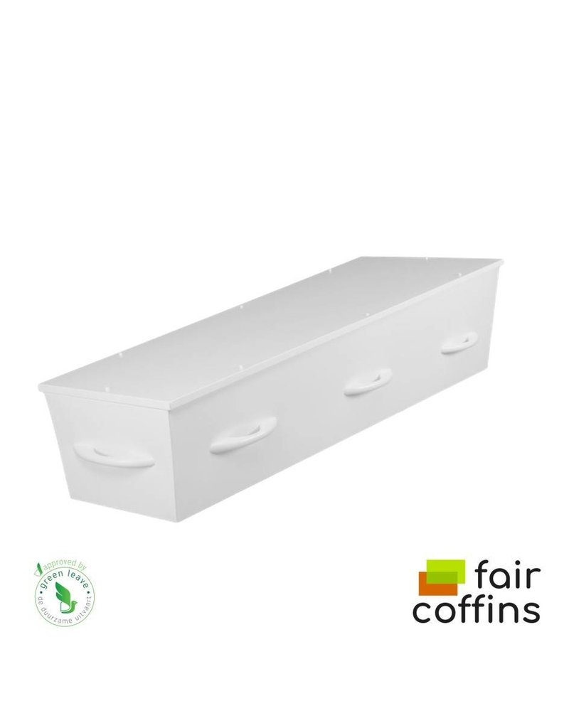 Karton FAIR coffin - kartonnen grafkist met houtdesign of wit