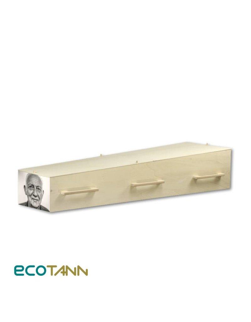 Gelaagd eco-hout Persoonlijke grafkist met eigen portretsticker op voet- of hoofdeinde