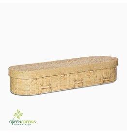 Gevlochten Bamboe Eco rond uitvaartmand