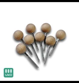 Uitvaartproducten 8x Grafkist sluitschroeven 18 mm houten bol