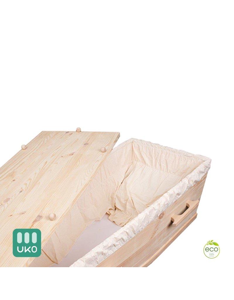 Naaldhout ECOPINE massief naaldhouten eco uitvaartkist met eenvoudige katoenen bekleding