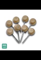 Uitvaartproducten 8 sluitschroeven met houten bol 33 mm en vlakke kant