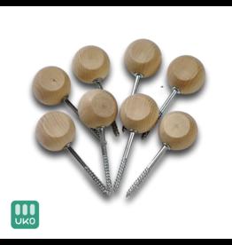 Uitvaartproducten 8x Grafkist sluitschroef houten bolknop 33 mm