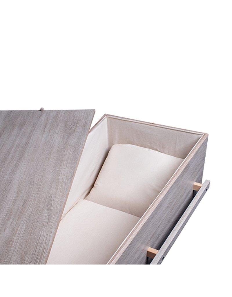 Spaanplaat Moderne design uitvaartkist met lange grepen en eco-katoenen bekleding