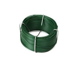 Green plastic coated wire coil