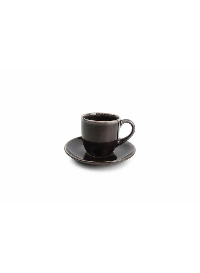 ARTISAN kop en schotel 220 ml (zwart) set/4