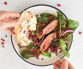 """Lamsfilet met Linzen- salade en """"flatbread"""""""