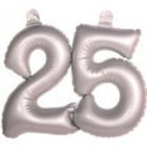 Folat - Opblaascijfer - 25 Jaar - Zilver