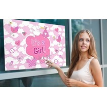 Folat - Raamvlag - It's a girl - Met zuignappen - 60x90cm