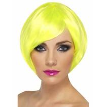 Smiffys - Pruik - Bobline - Neon geel