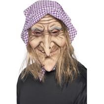 Smiffys - Masker - Heks - Met haar & hoofddoek - Latex