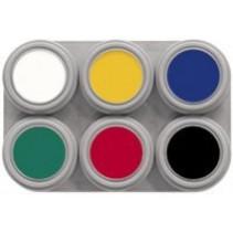 Grimas - Water make-up - Palet A - Basiskleuren - 6x2,5ml