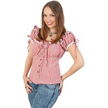 PartyXplosion - Blouse Bayern - Dames - Rood/wit - XS/S