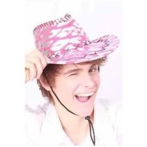 PartyXplosion - Cowboyhoed - Torro - Zilver/roze gevlekt