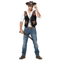 Witbaard - Kostuum - Vest - Cowboy - Met sterren - Bruin - S