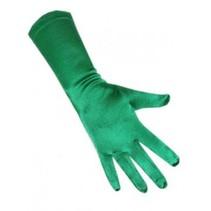 PartyXplosion - Handschoenen - Satijn - Groen - 40cm