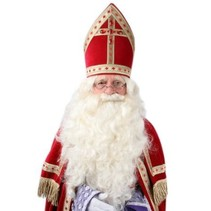 PartyXplosion - Pruik & baard - Sinterklaas - Vaste snor - Luxe