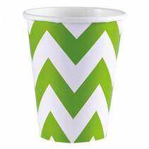 Amscan - Bekers - Zigzag - Groen/wit - Karton - 8st.