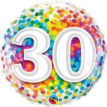 Qualatex - Folieballon - Regenboog confetti - 30 jaar - Zonder vulling - 43cm