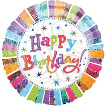 Anagram - Folieballon - Radiant - Happy birthday - Zonder vulling - 43cm