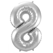 Folat - Folieballon - Cijfer - 8 - Zonder vulling - Zilver - 86cm