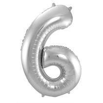 Folat - Folieballon - Cijfer - 6 - Zonder vulling - Zilver - 86cm
